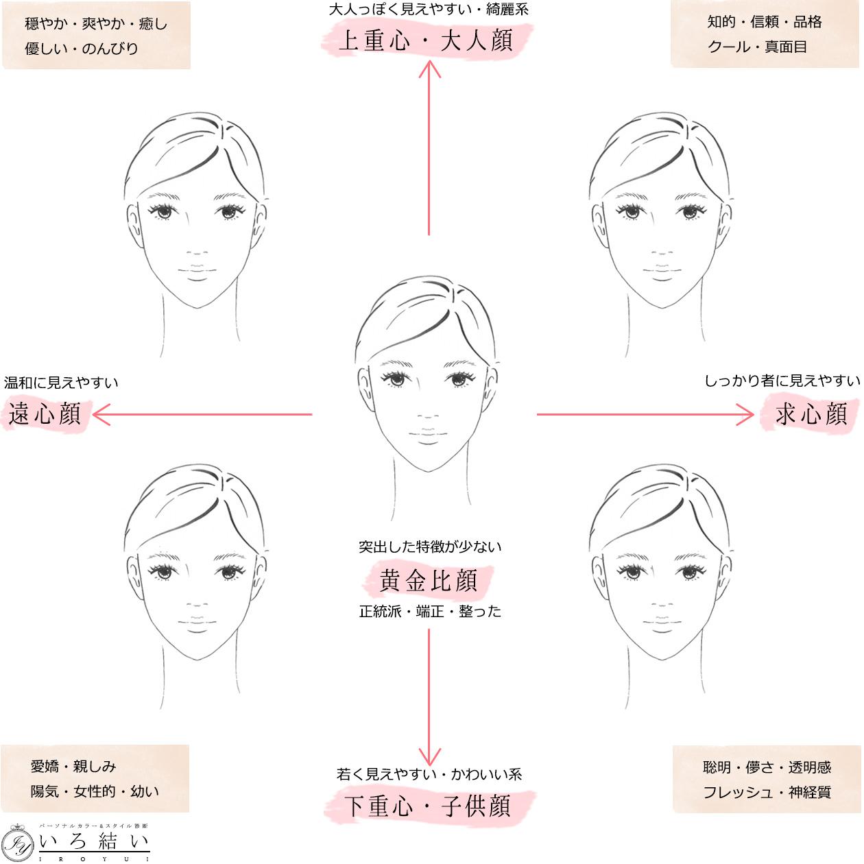 メイクレッスンで分析する遠心顔と求心顔の表
