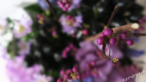 サロンの玄関の花