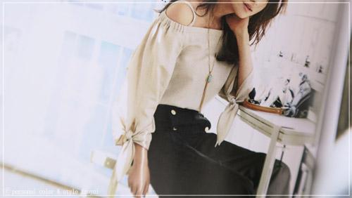 パーソナルデザインロマンスフェミニンに似合うぶら袖